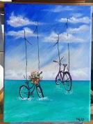 Serie bicicletas VI / Juguetonas 9x12 Acrílico